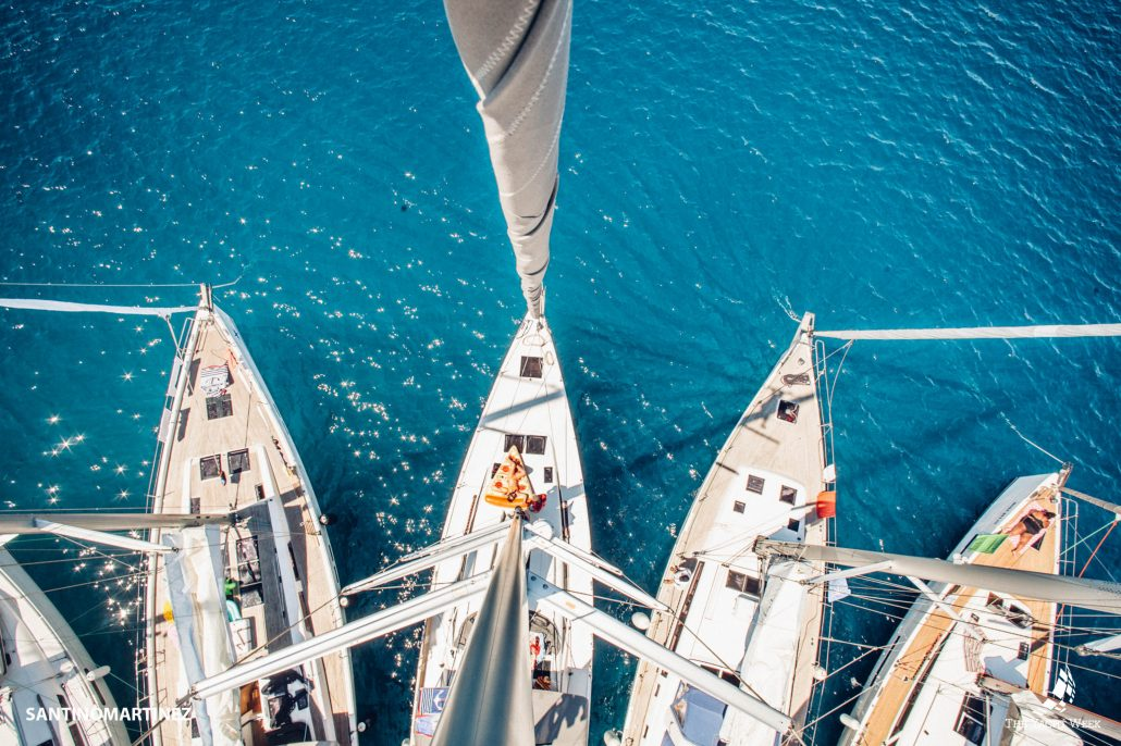 boats tied together at the yacht week