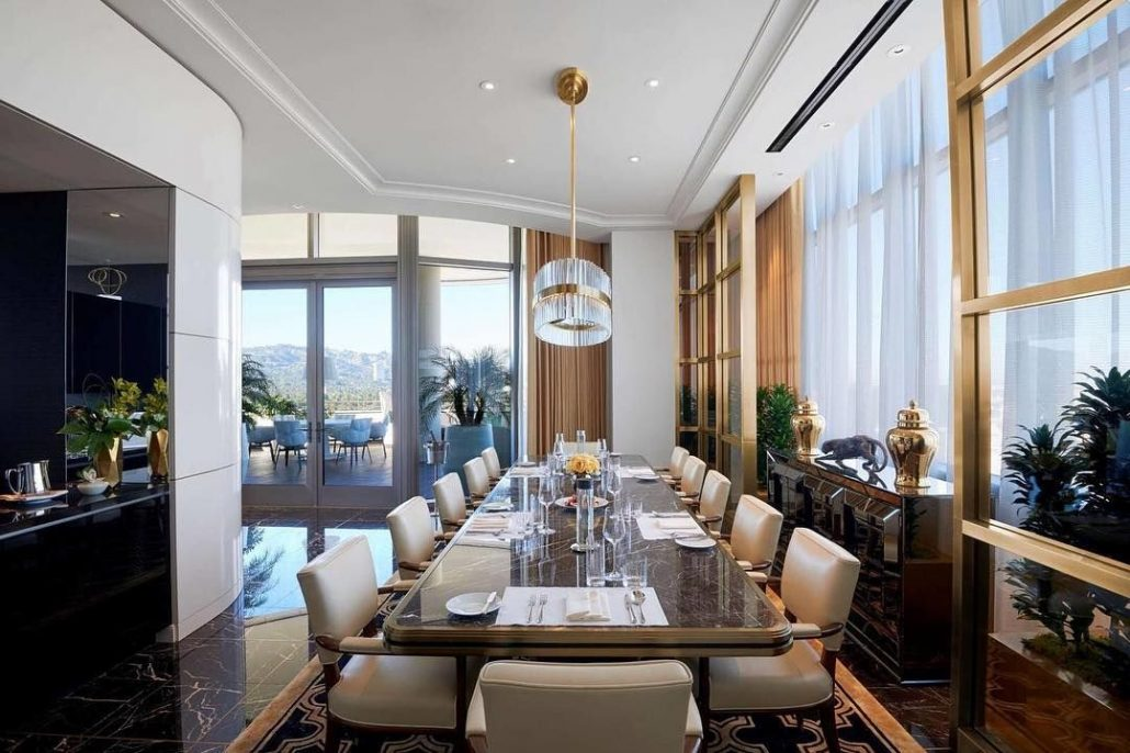 waldorf astoria beverly hills penthouse suite dining table