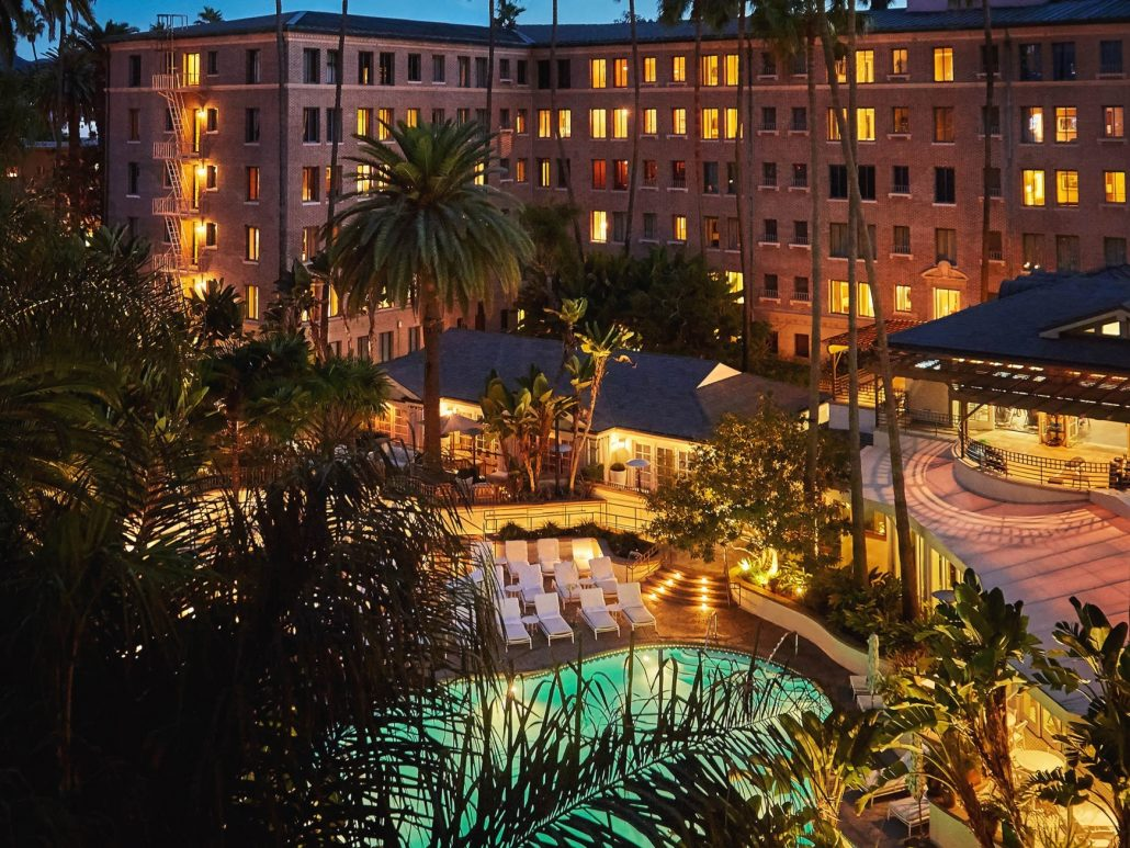 fairmont miramar pool at night