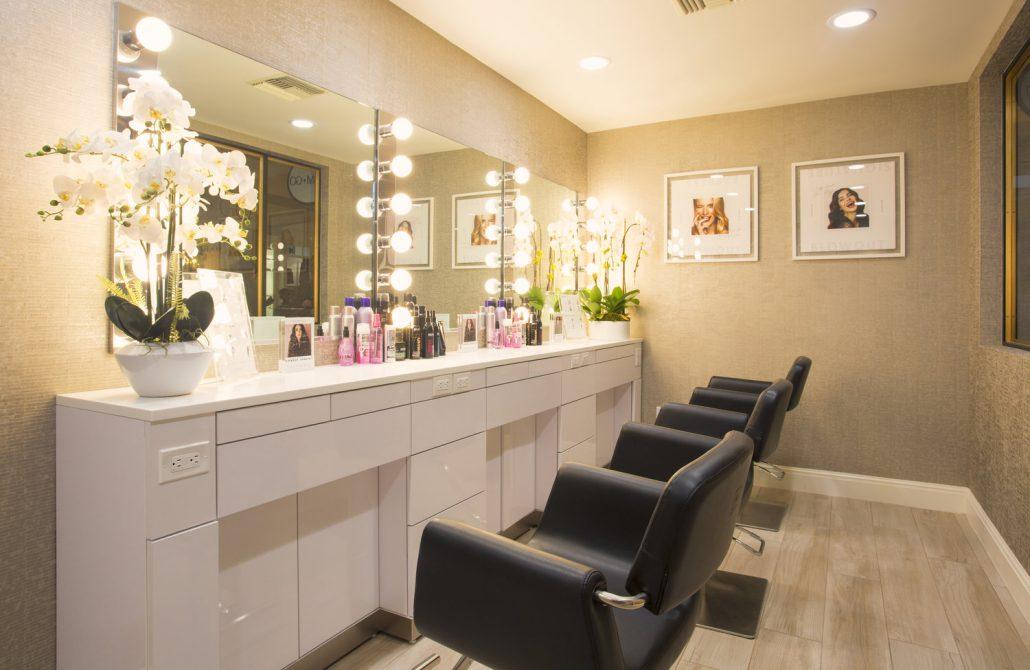 glam and go salon chairs at fairmont miramar santa monica