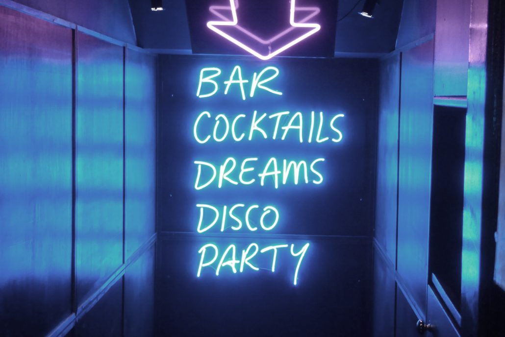 bars cocktails disco party neon sign