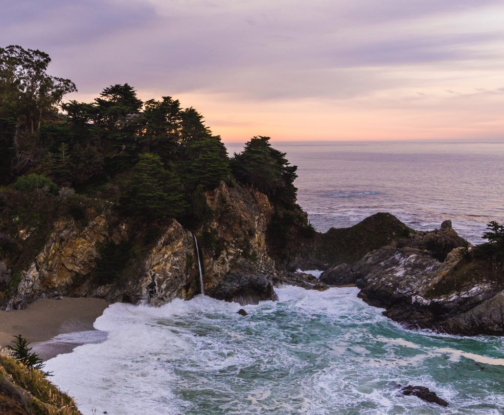 McWay Falls at sunset in big sur california