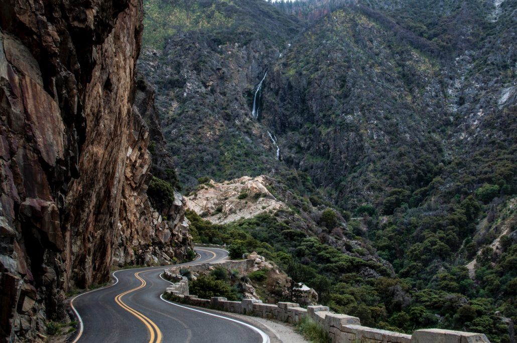 California windy road in mountains