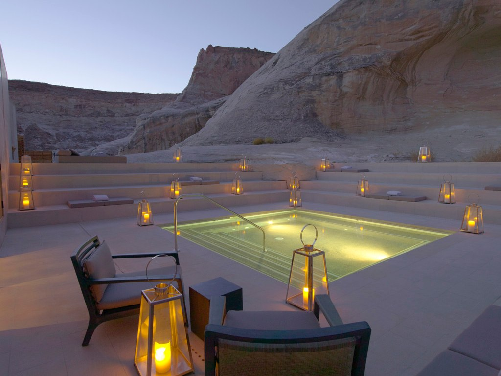 amangiri spa in desert at night