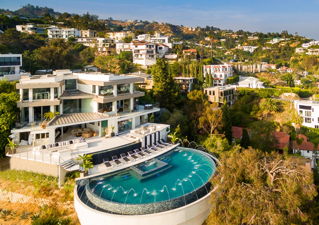 hollywood hills villa rental aerial view of pool
