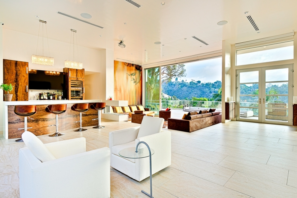 beverly hills villa rental view of living room