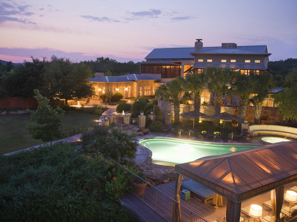 lake austin spa resort pool sunset