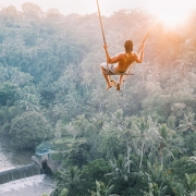 guy swinging in bali ubud