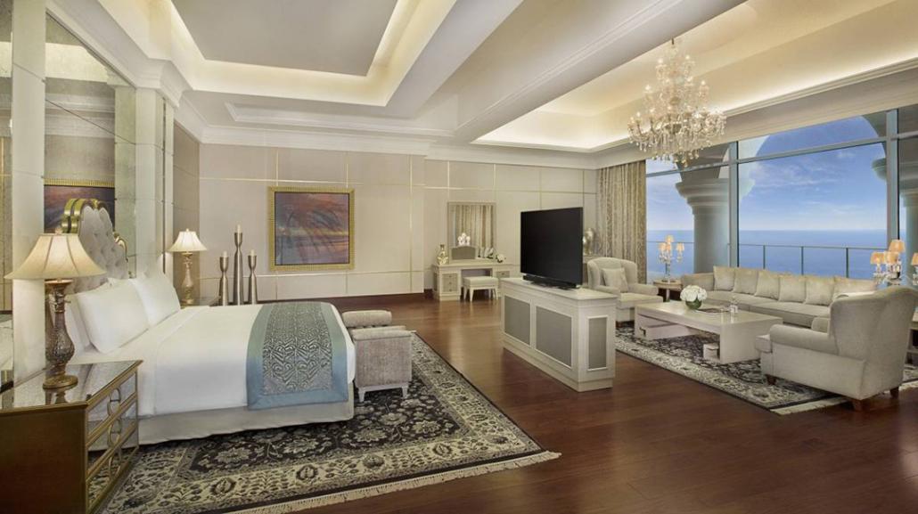waldorf astoria dubai royal suite bedroom
