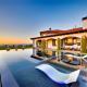 malibu villa rental pool at sunset