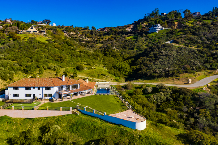 malibu villa rental aerial drone view