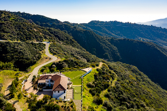 malibu villa rental aerial view drone