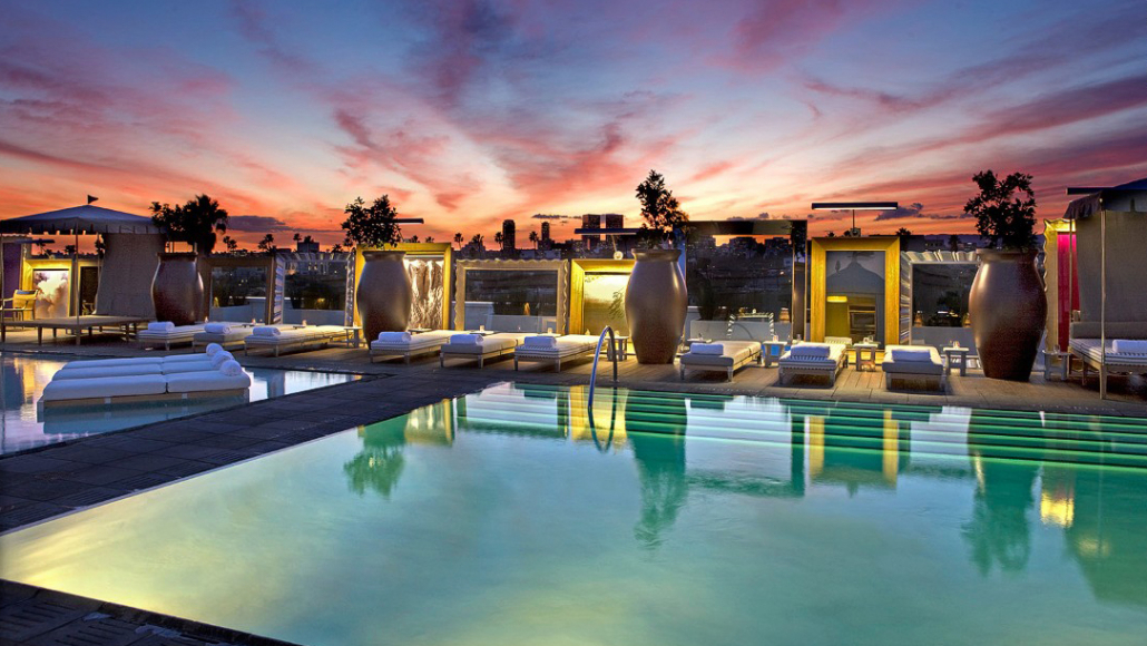 altitude pool at sls beverly hills during sunset