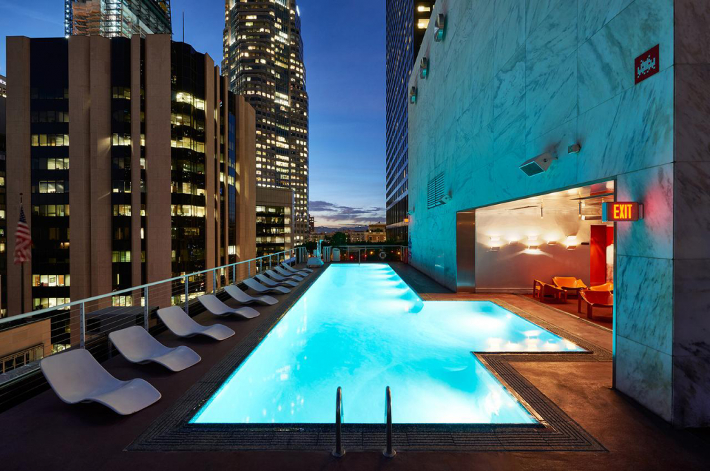 the standard downtown la pool at night