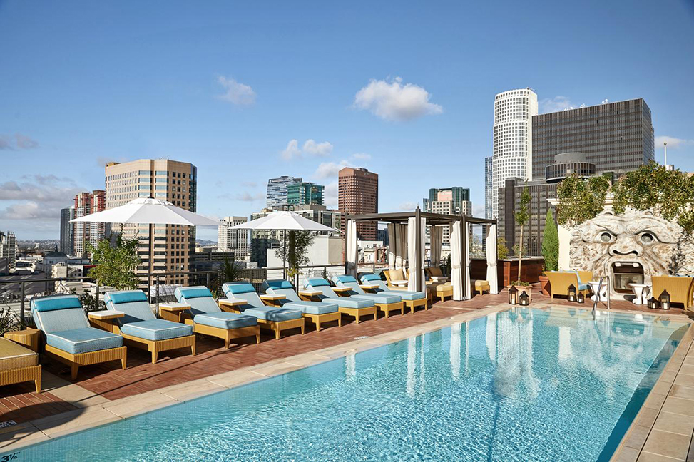 The NoMad rooftop pool downtown la city views