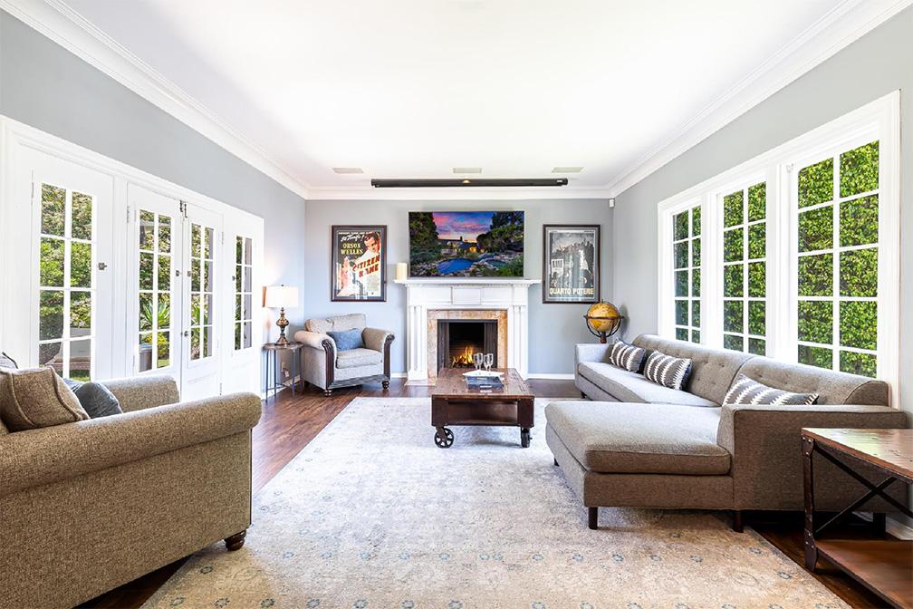 hollywood hills villa rental living room