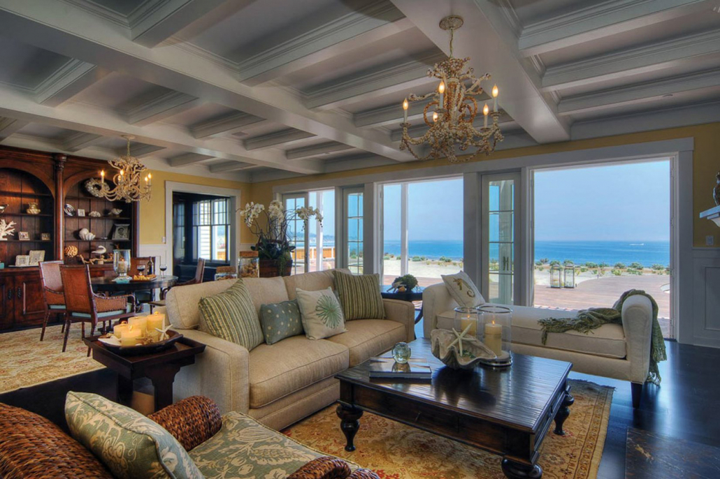 santa barbara villa rental living room ocean view