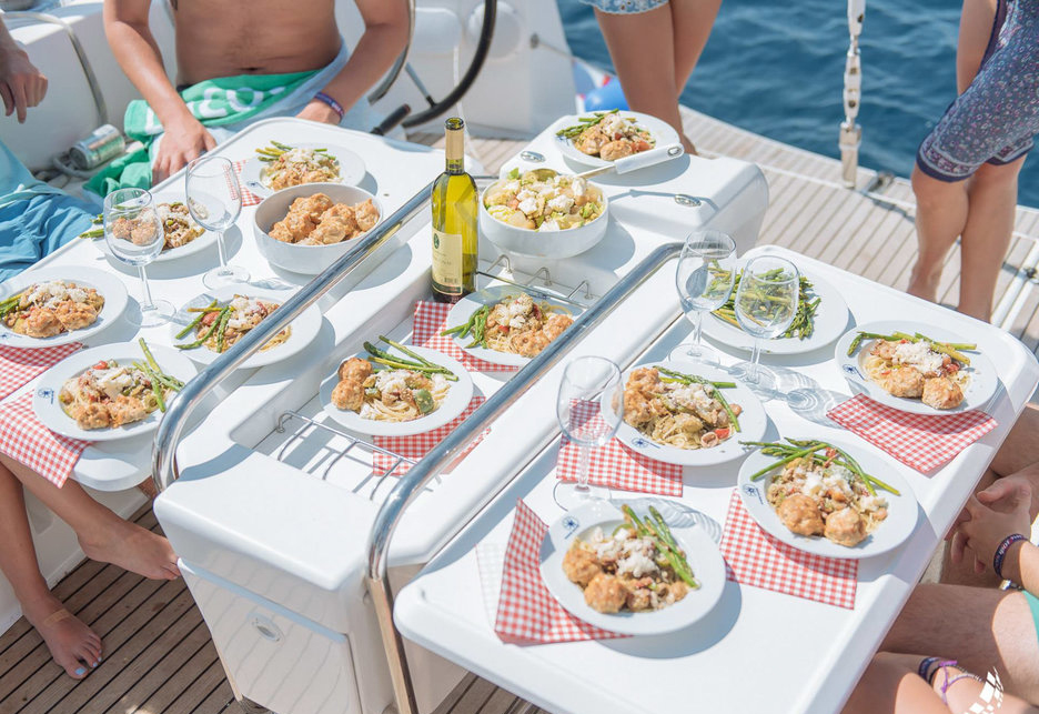 the yacht week food spread