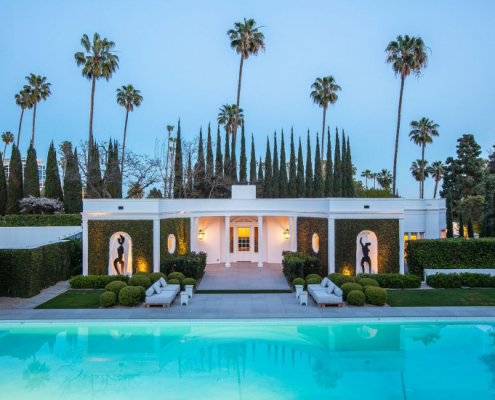 beverly hills luxury villa rental pool with palm trees