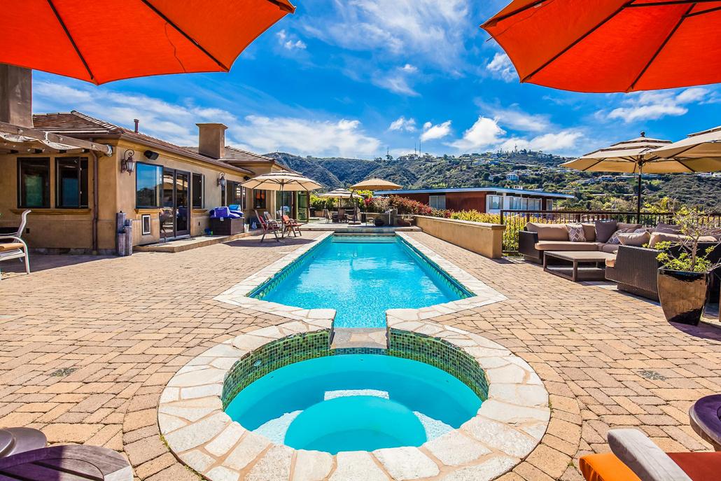 la jolla villa rental backyard pool with umbrellas