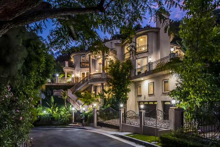 beverly hills rental front entrance at night