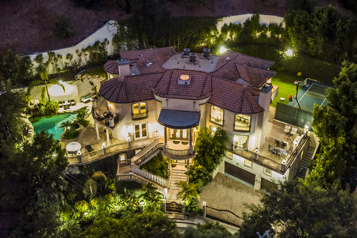 beverly hills rental aerial drone view