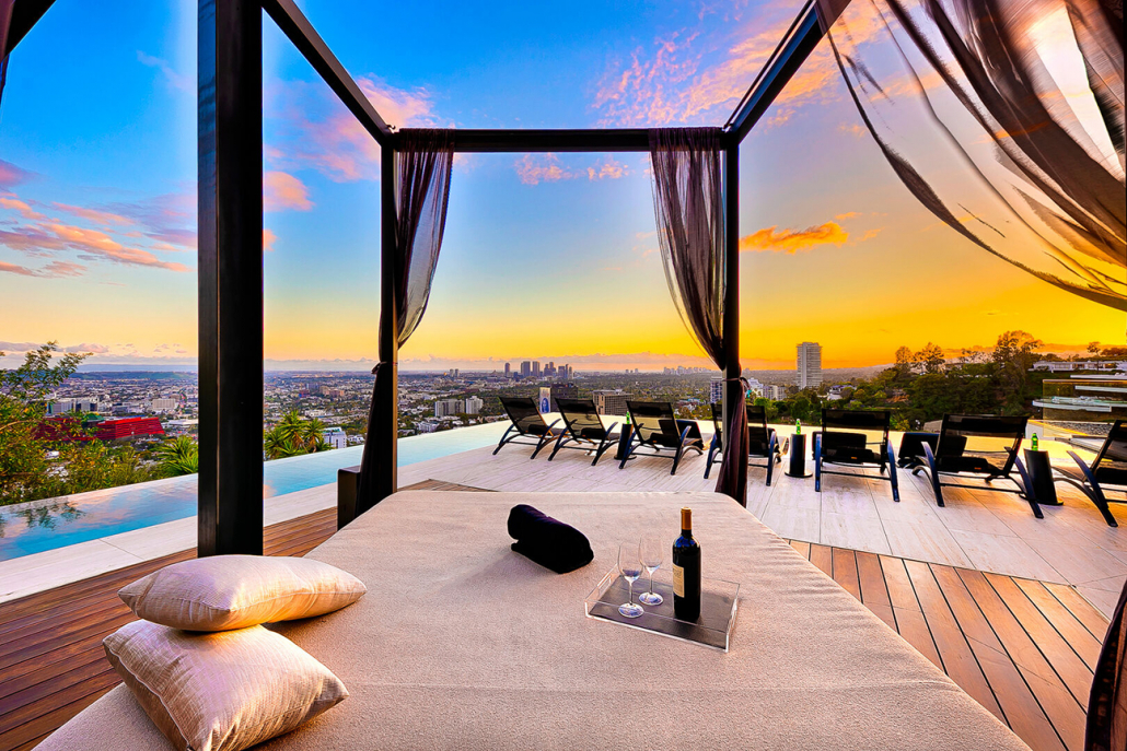 hollywood hills villa rental cabana view of los angeles