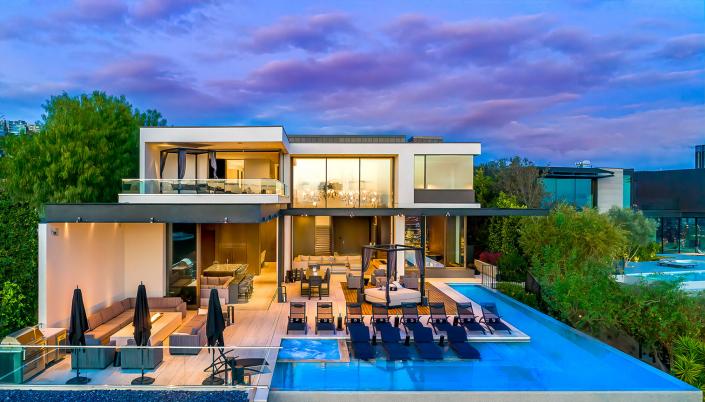 hollywood hills villa rental pool exterior view