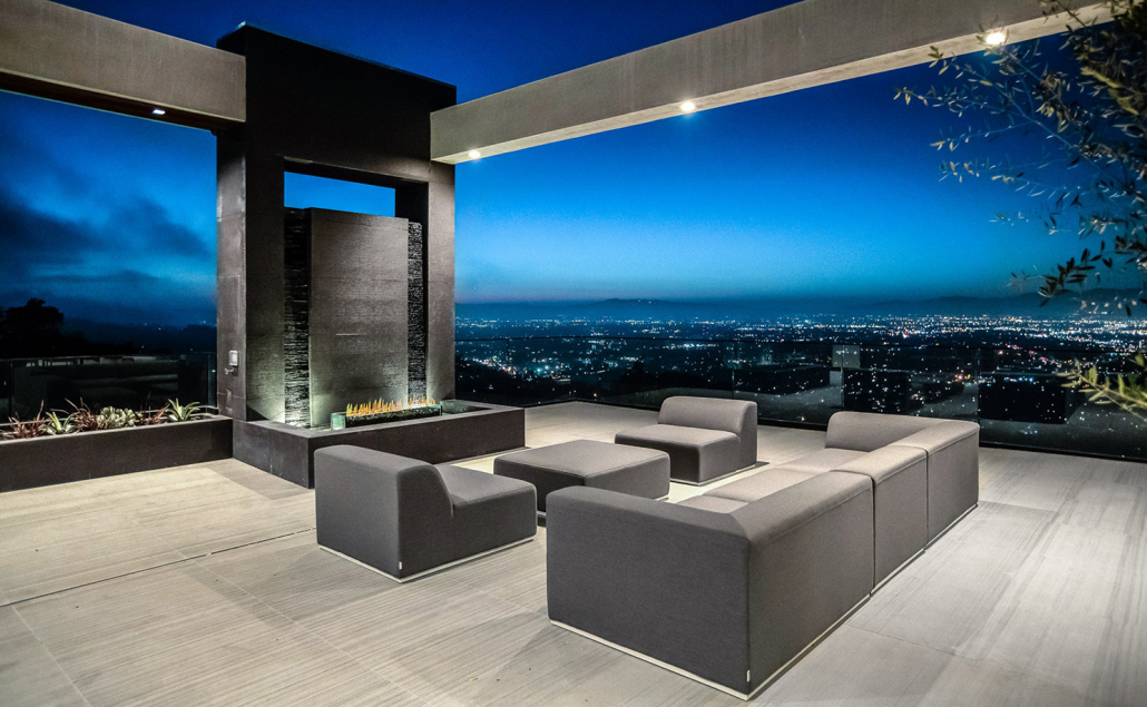 hollywood hills villa rental patio and fire pit