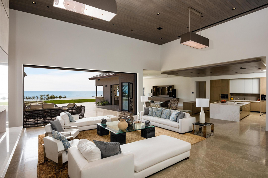 malibu villa rental living room ocean view