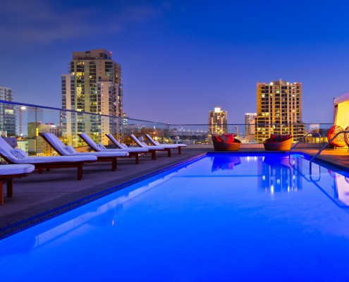 andaz san diego rooftop pool at night