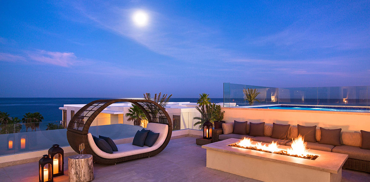 chileno bay resort 4 bedroom sky villa rooftop with fire pit