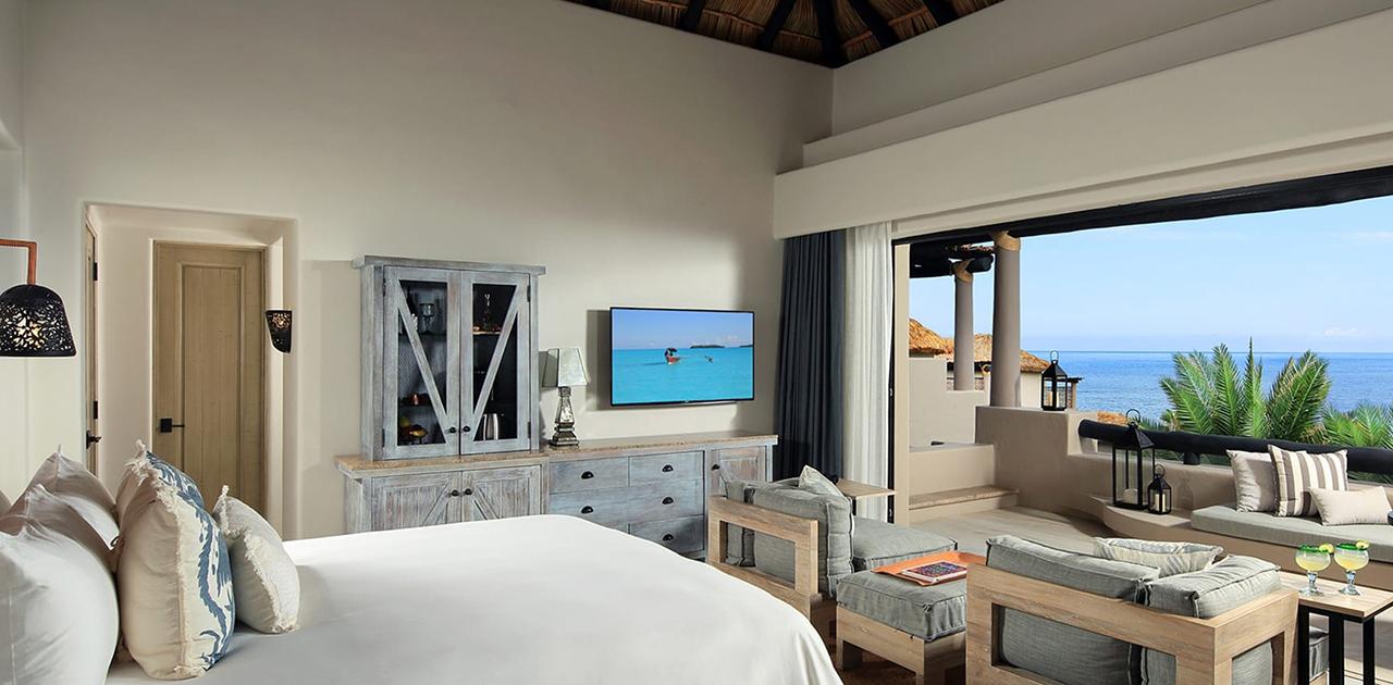 esperanza cabo oceanview palapa spa casita bedroom