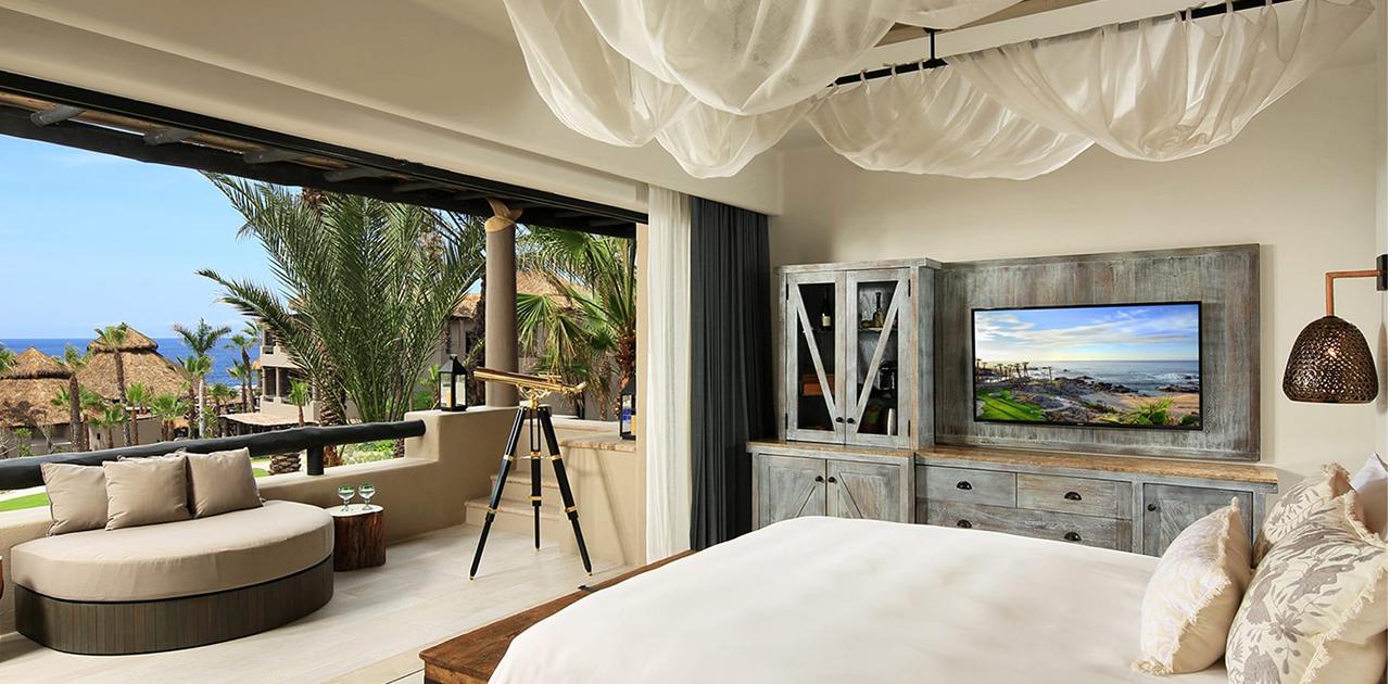 esperanza cabo one bedroom oceanview terrace spa suite bedroom