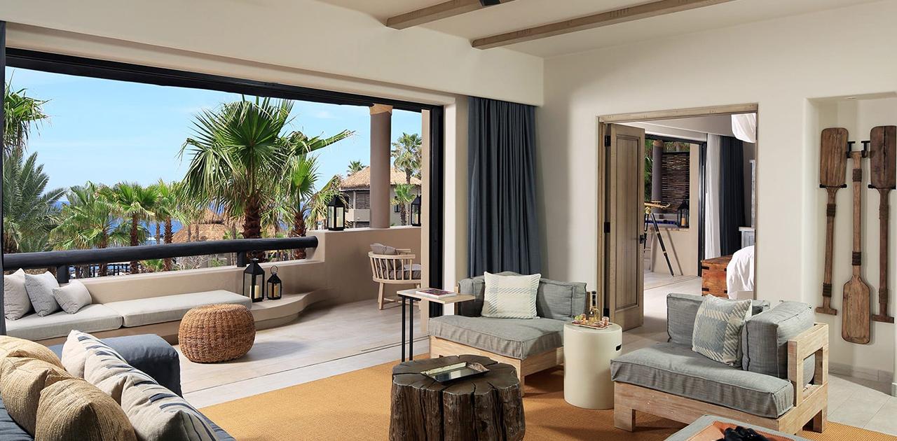 esperanza cabo one bedroom oceanview terrace spa suite living room
