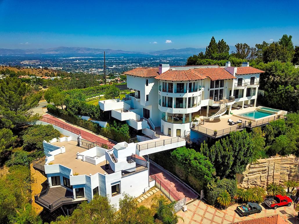 beverly hills villa rental aerial drone view