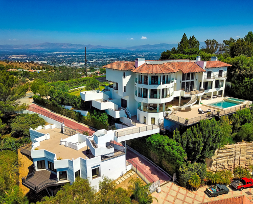 beverly hills villa rental aerial drone view
