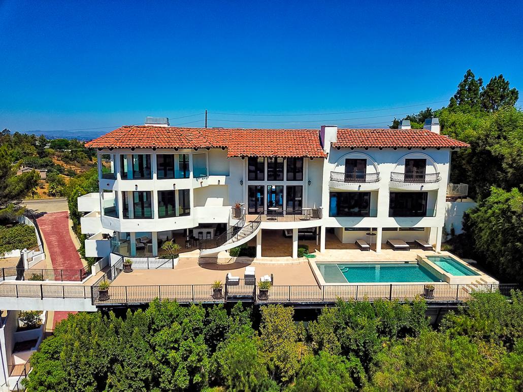 beverly hills villa rental exterior drone view