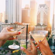 girls cheering glasses 21st Birthday in New York City