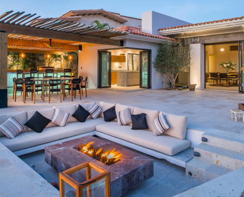 cabo villa rental lounge seating firepit