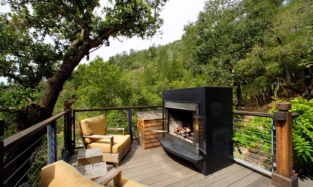 calistoga ranch resort hillside lodge fireplace