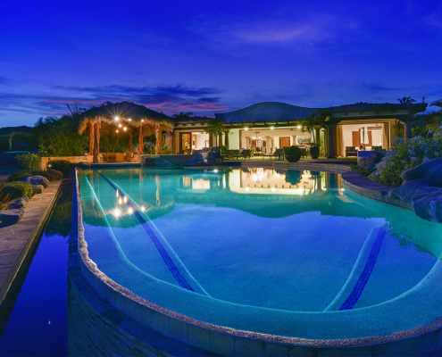 casa la riviera cabo del sol villa rental pool at night