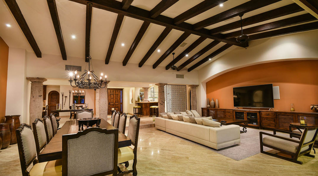 cabo villa rental family room high ceiling