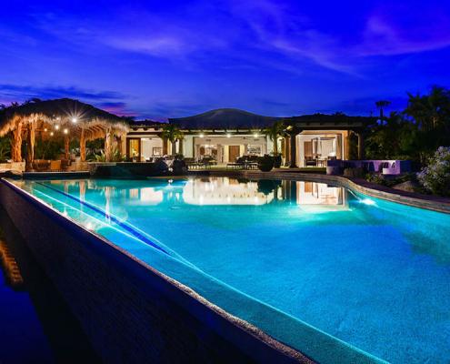 cabo villa rental pool at night