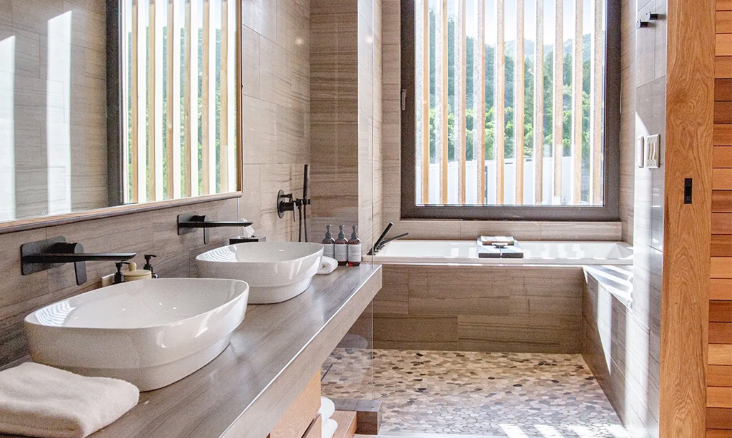 two bedroom signature suite bathroom at the lodge at blue sky