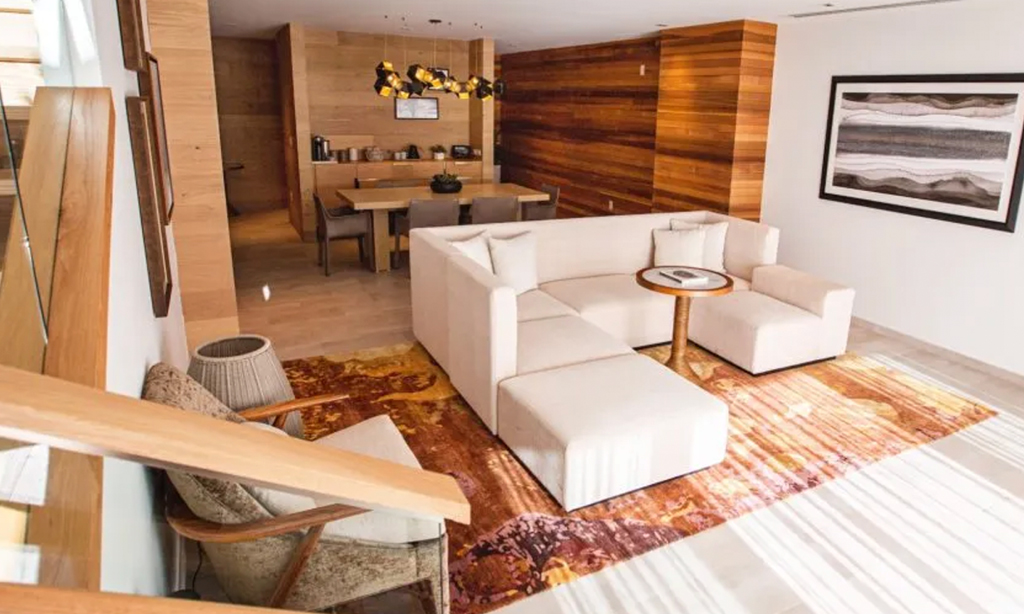 two bedroom signature suite living room at the lodge at blue sky