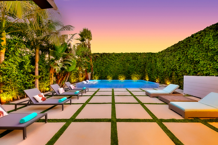 west hollywood villa rental patio at sunset