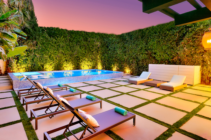 west hollywood villa rental patio with lounge chairs