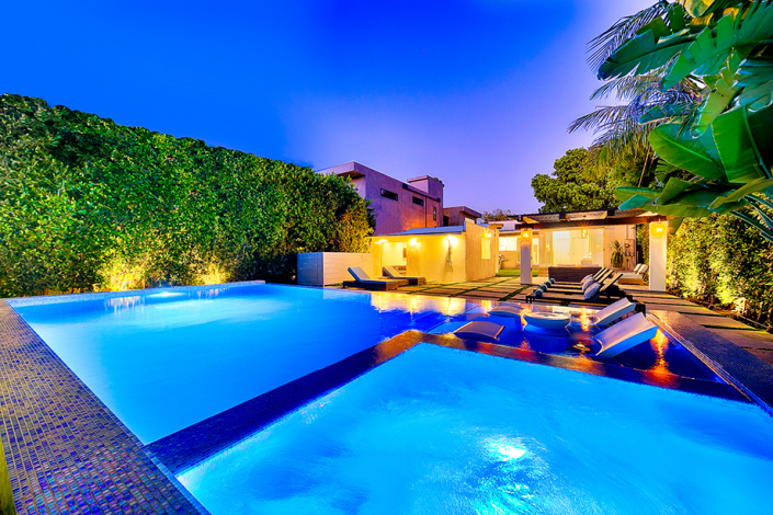 west hollywood villa rental pool at night