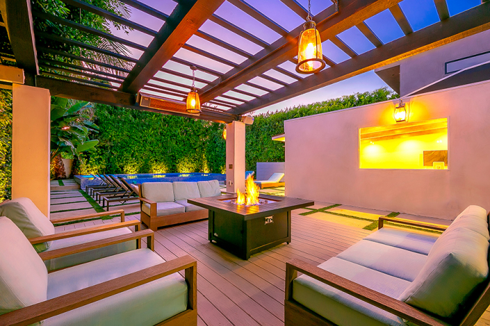 west hollywood villa rental patio with firepit